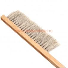 Щетка 3-х рядная натуральный волос ручка деревянная